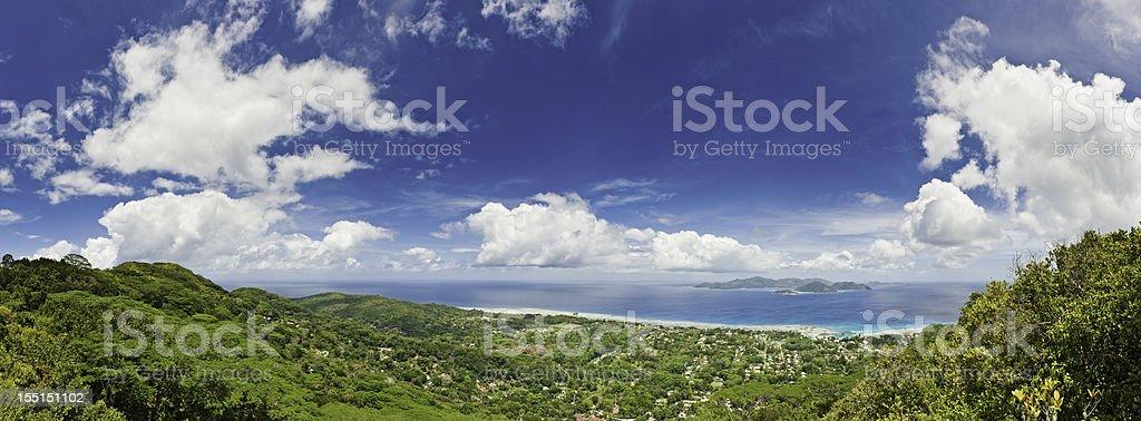 Tropical island blue ocean idyllic resort panorama royalty-free stock photo