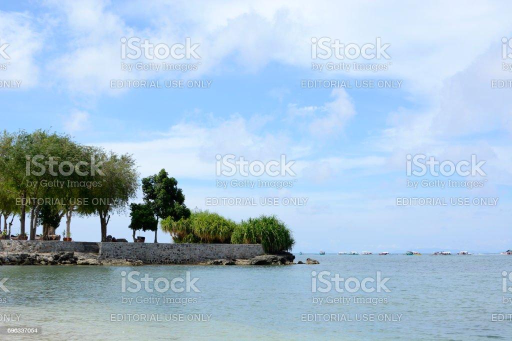 Laiya, San Juan, Batangas, Philippines - May 28, 2017: Tropical Island coast trees, grasses vegetation stock photo