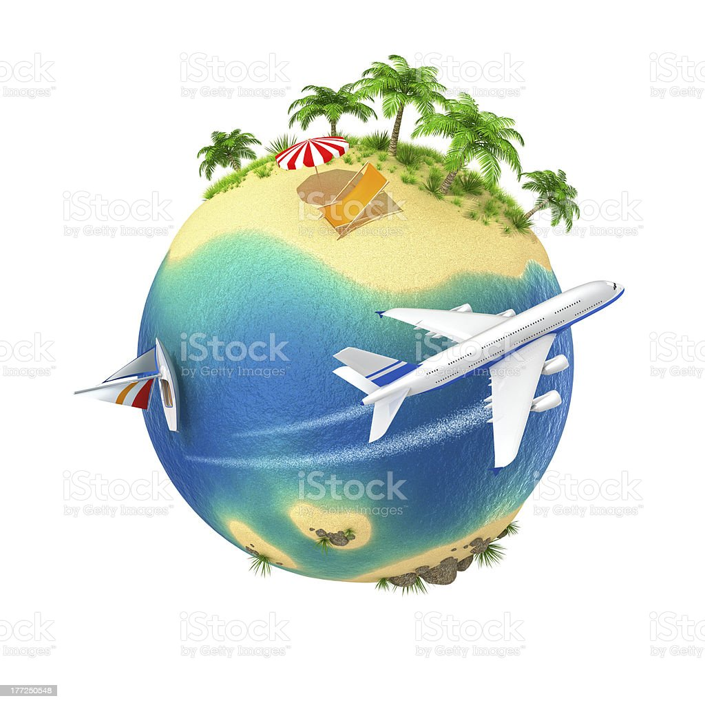 Tropical island globe with plane circling royalty-free stock photo
