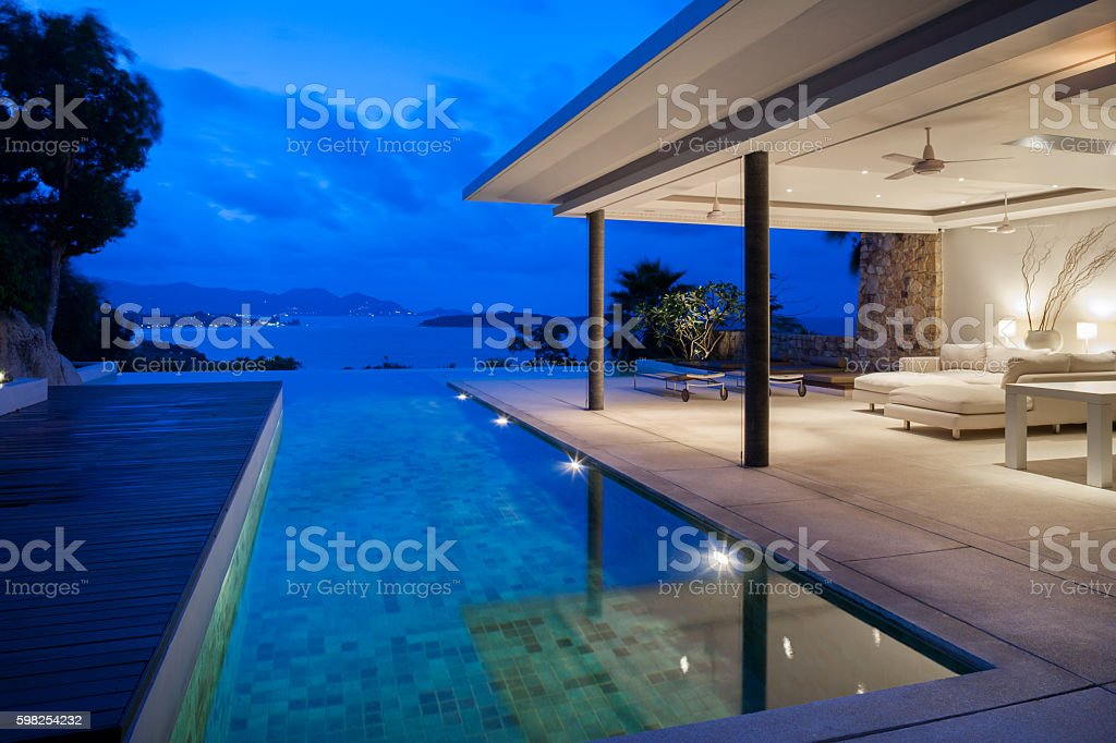 Tropical Island Home stock photo