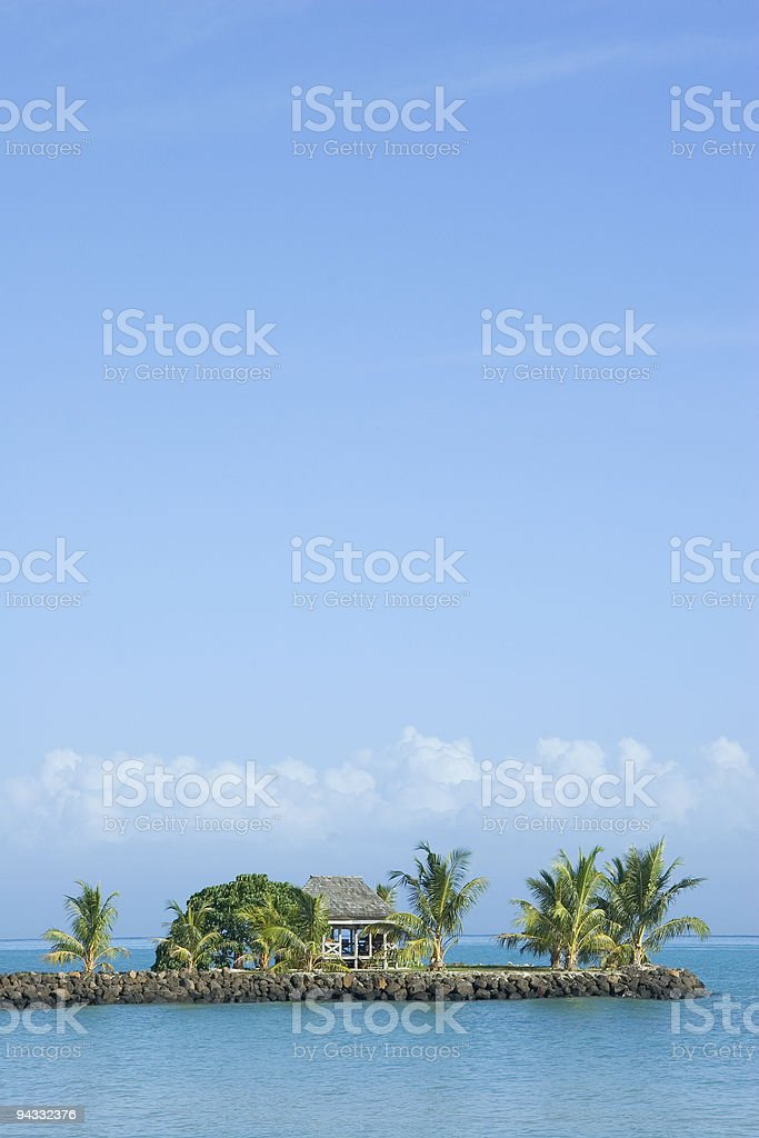 Tropical Island Hut stock photo