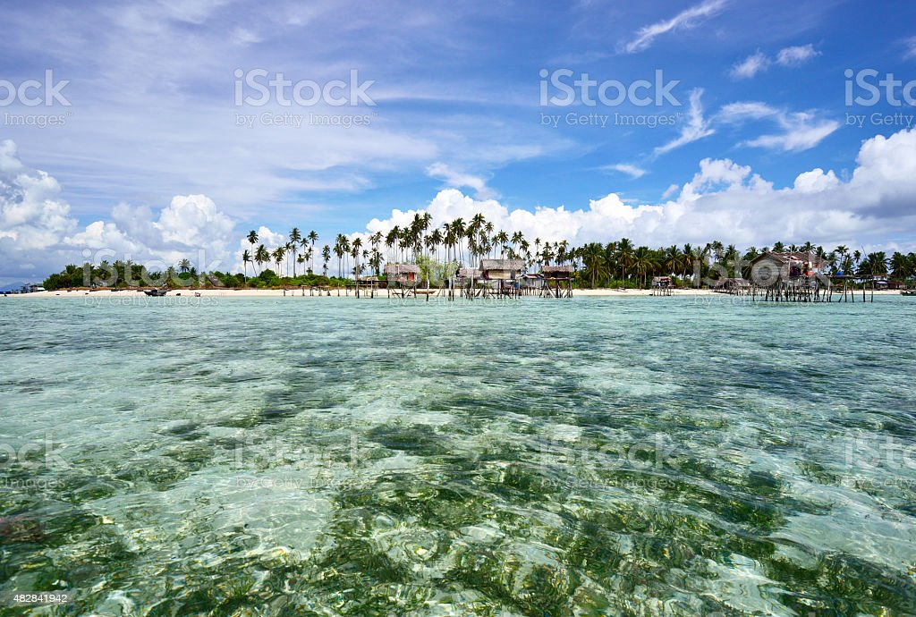 Tropical island in Sabah Borneo stock photo