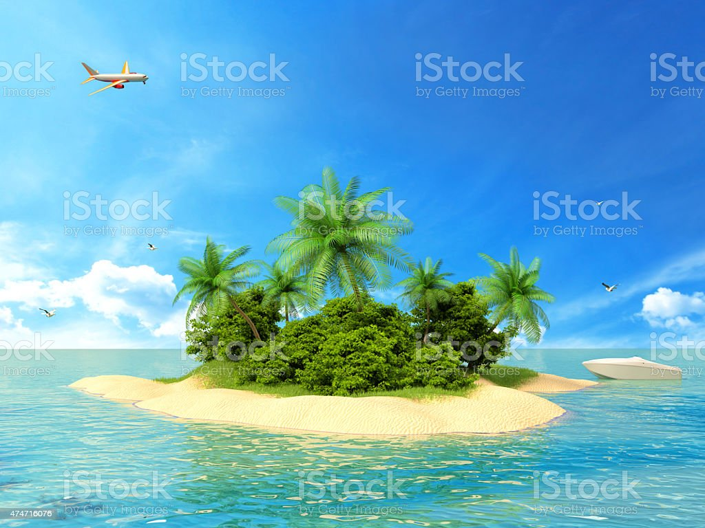 Tropical island in the ocean with a boat and plane stock photo