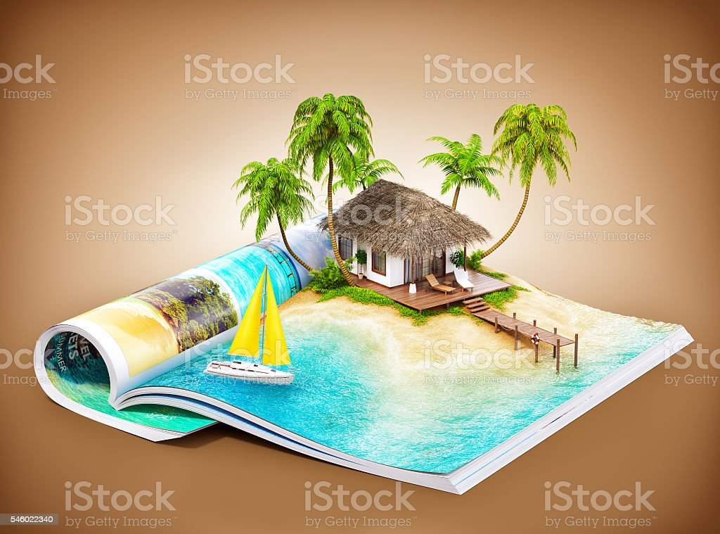 tropical island on a magazine stock photo