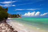 Tropical island resort waterfront beach landscape perspective view, Cuba vacation