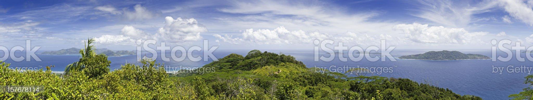 Tropical island super panorama lush green rainforest turquoise ocean lagoon royalty-free stock photo