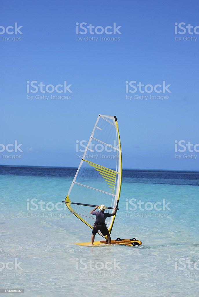 Tropical Island Windsurfing royalty-free stock photo