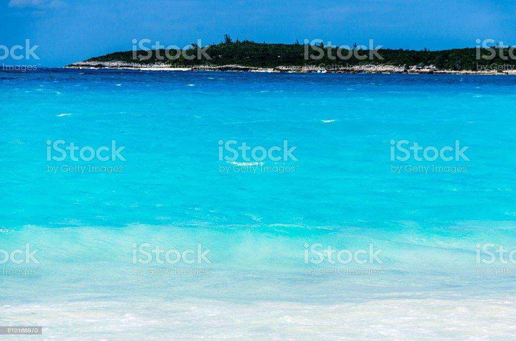 Tropical Island with Deep Blue Sea stock photo