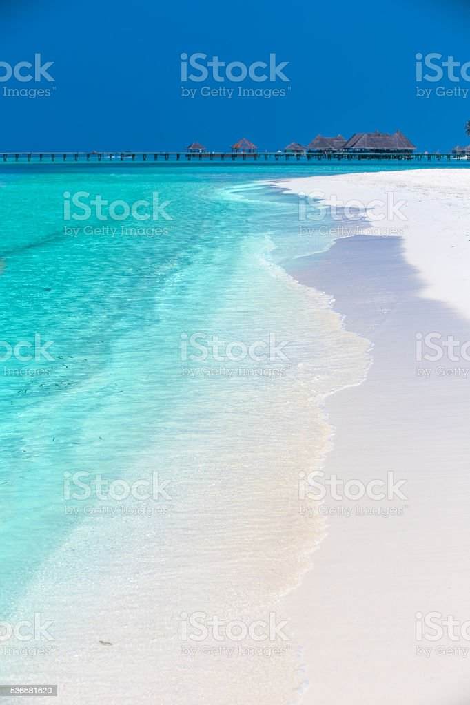 Tropical island with sandy beach, palm trees and overwater bungalow stock photo