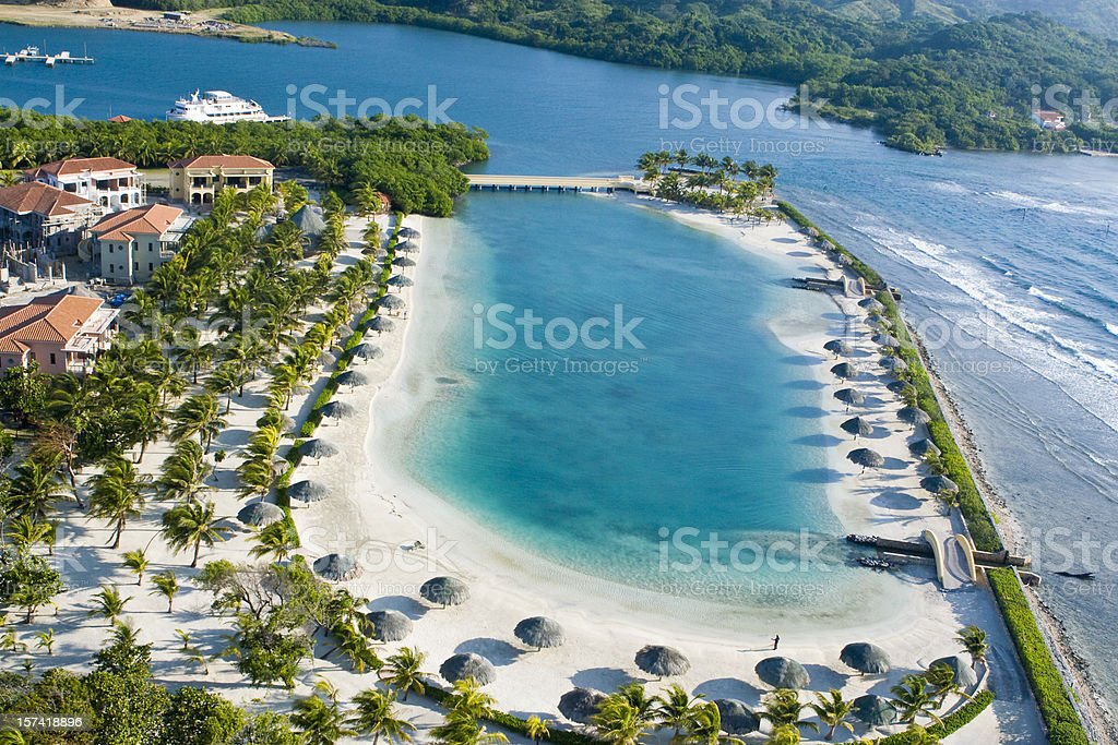 Tropical Lagoon overhead view stock photo