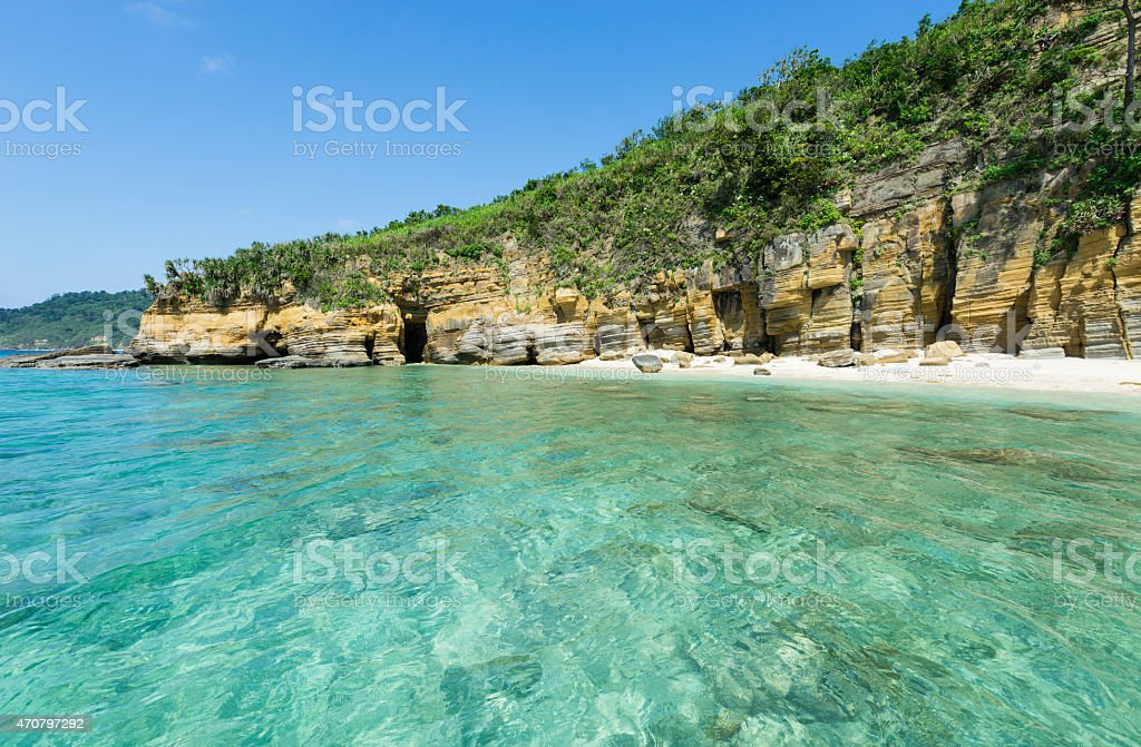 Tropische Lagune mit verdeckten secret beach paradise Lizenzfreies stock-foto
