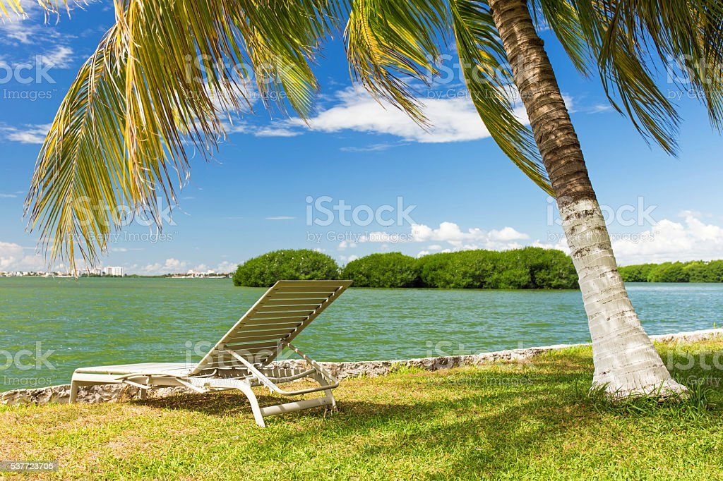 Tropical lake Nichupte lagoon stock photo