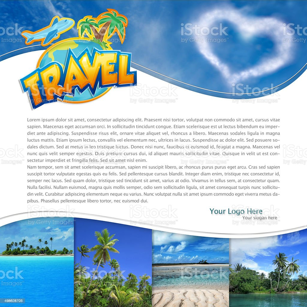 tropical landscape and heart-shaped cloud stock photo