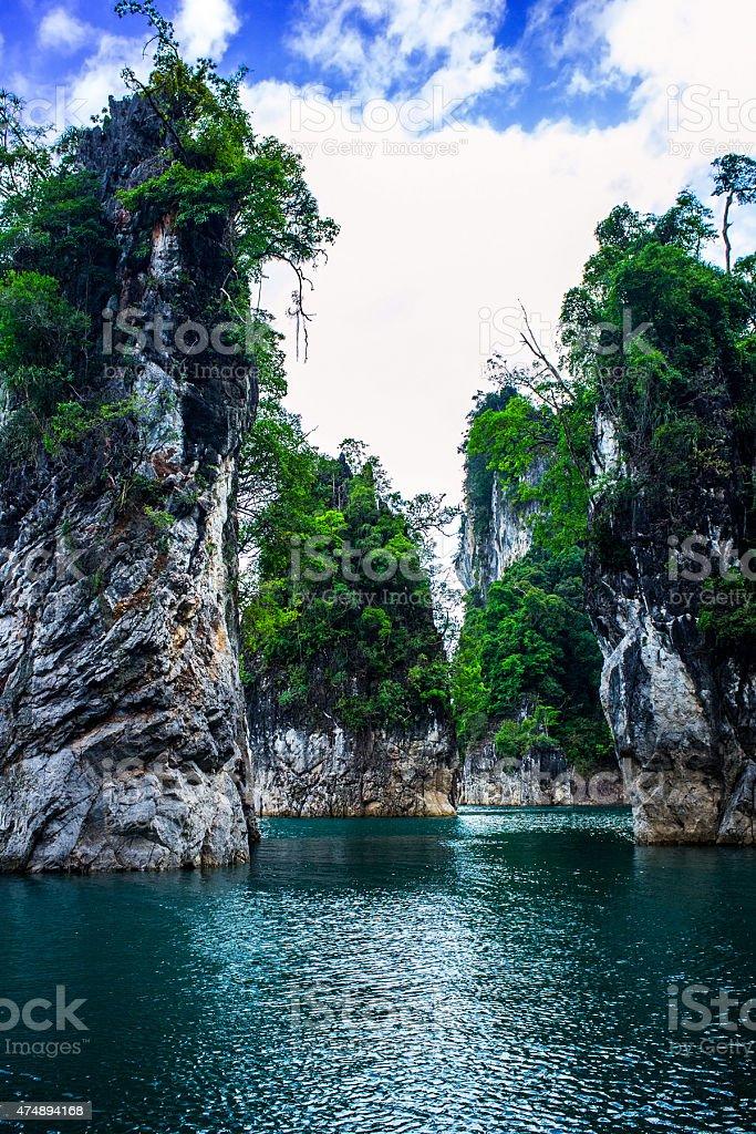Tropical landscape, Khao Sok National Park in Thailand stock photo