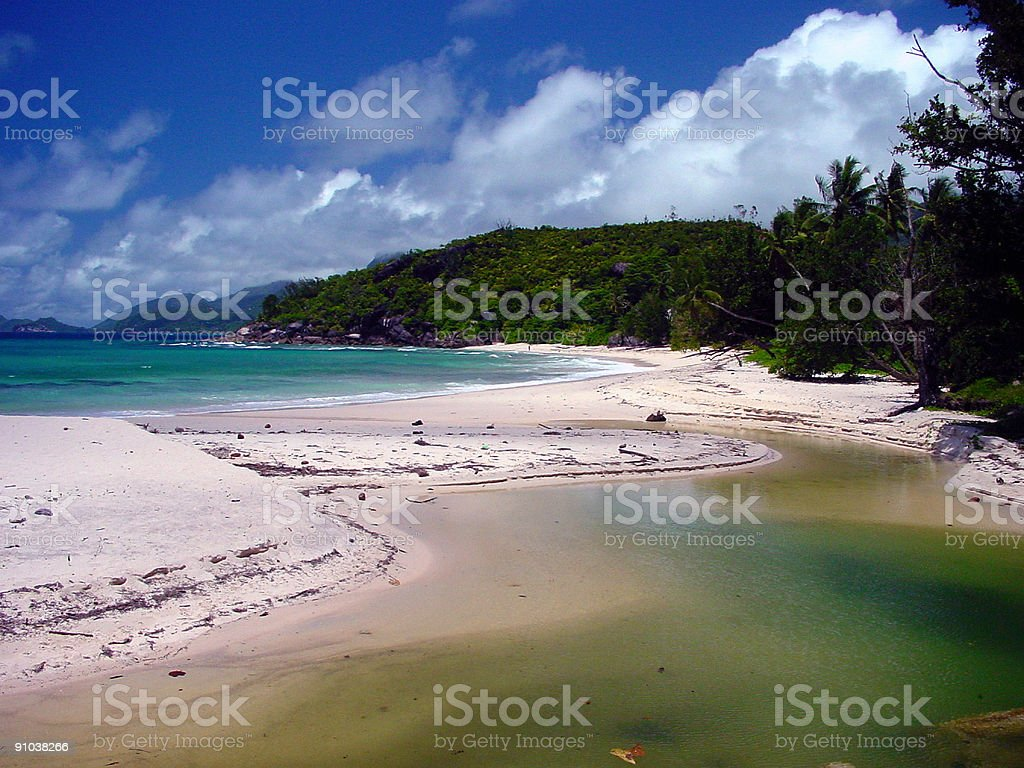 Tropical  lonesome beaches on Mahe - Seychelles royalty-free stock photo