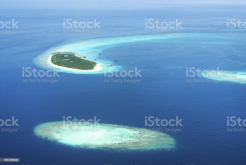 Tropical Maldivian islands in Indian ocean royalty-free stock photo
