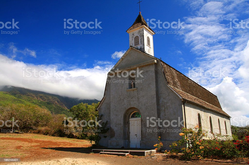 Tropical Maui Hawaii mountain side Church stock photo