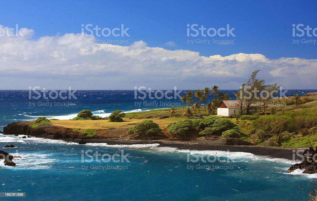Tropical Maui Hawaii Pacific ocean front Church stock photo
