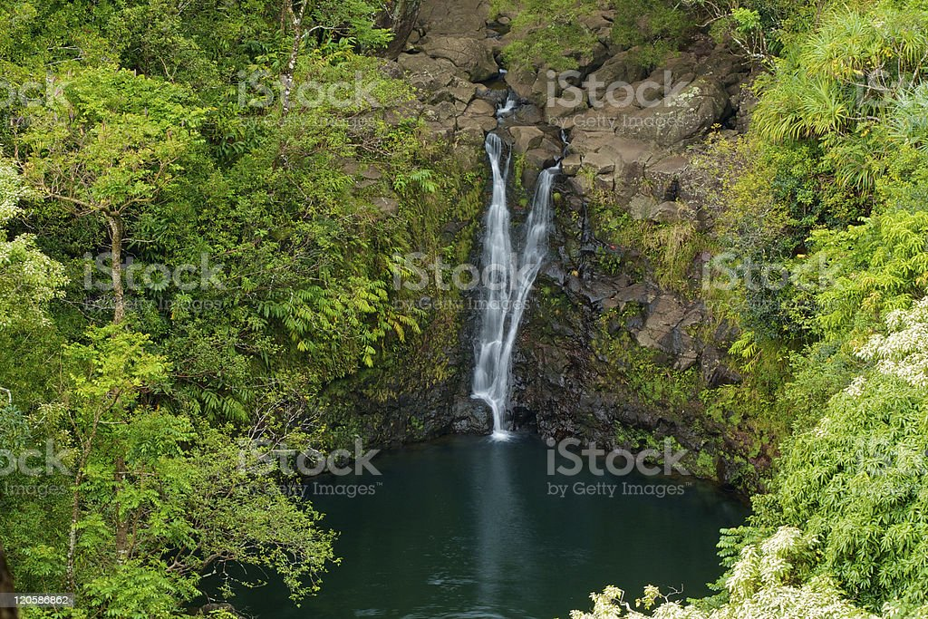 Tropical Maui Waterfall stock photo