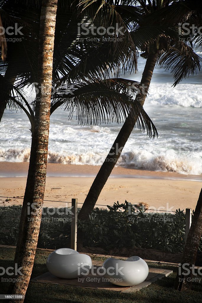Tropical modern beach scene stock photo