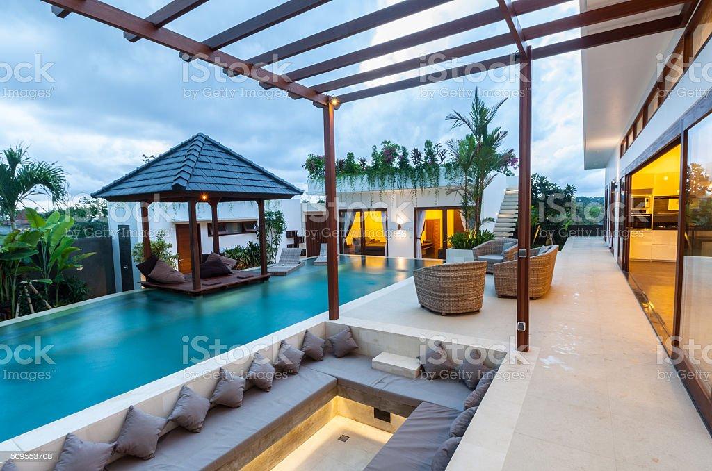 Tropical modern villa exterior stock photo