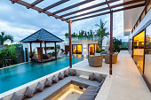 Tropical modern villa exterior