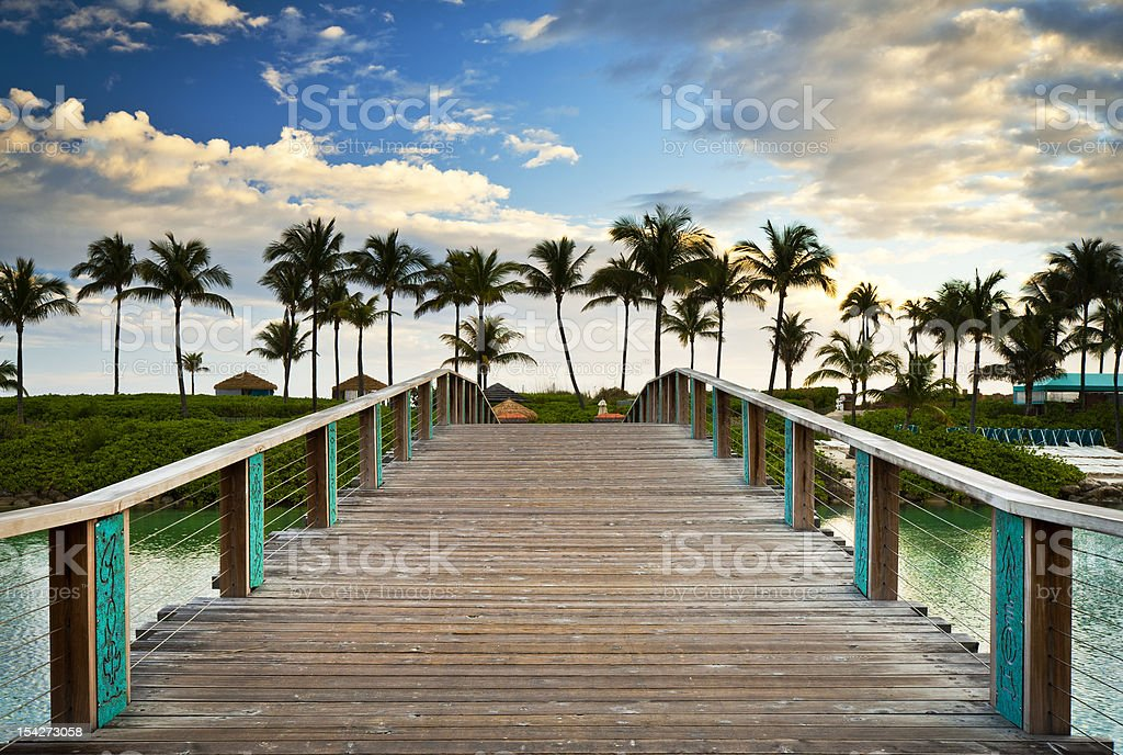 Tropical Ocean Beach Summer Vacation Palm Trees Paradise Resort Bridge stock photo