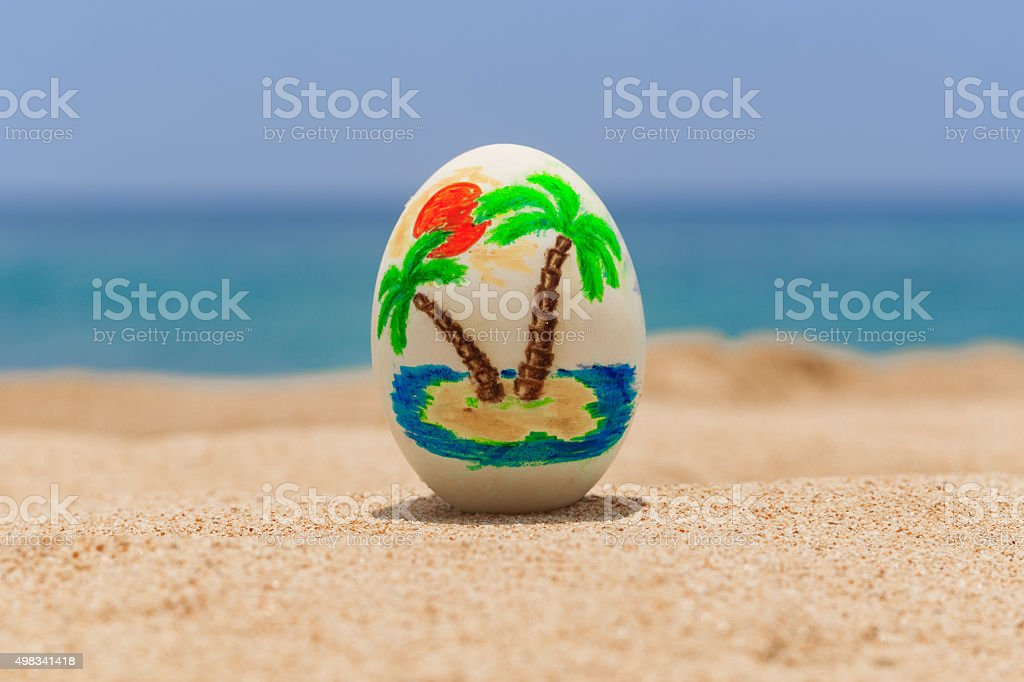 Tropical painted easter egg stock photo