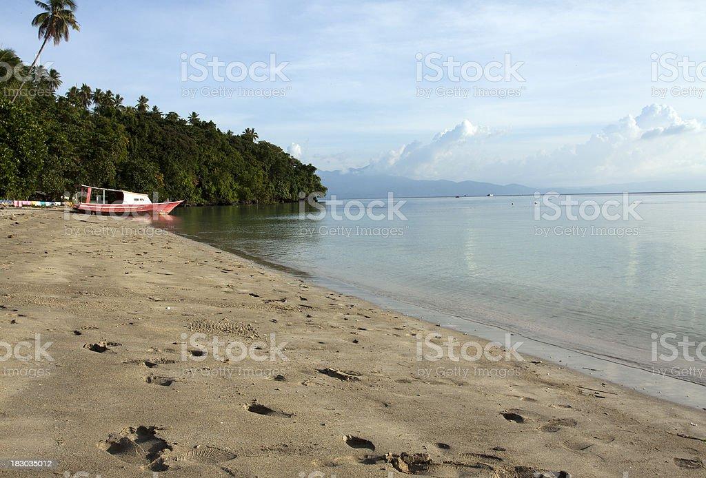 Tropical Paradise beach in Bunaken Island, Indonesia. stock photo