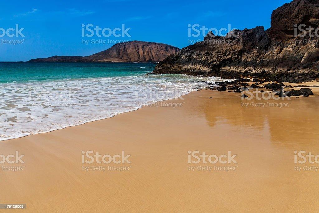 tropical  paradise beach of Canary stock photo