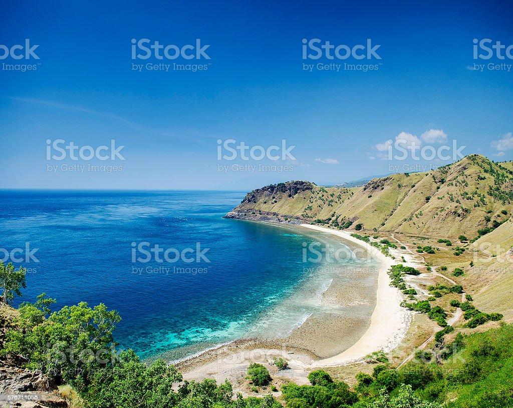 tropical paradise cristo rei beach near dili east timor asia stock photo