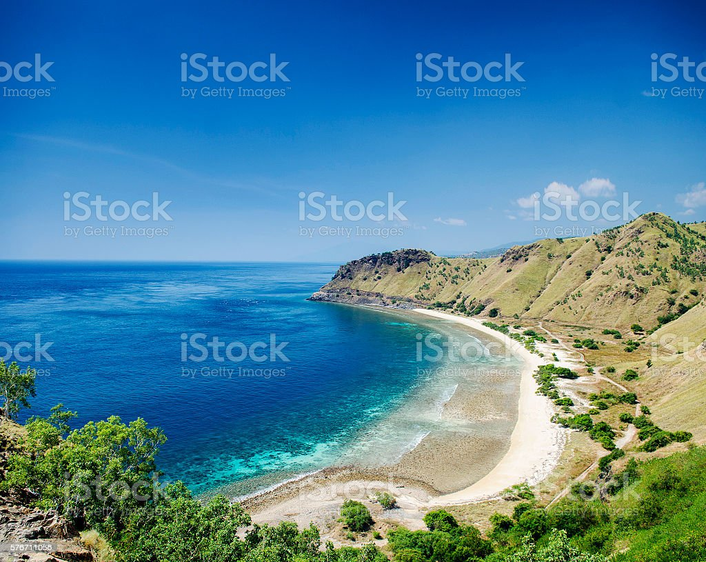 tropical paradise cristo rei beach near dili east timor asia stock photo