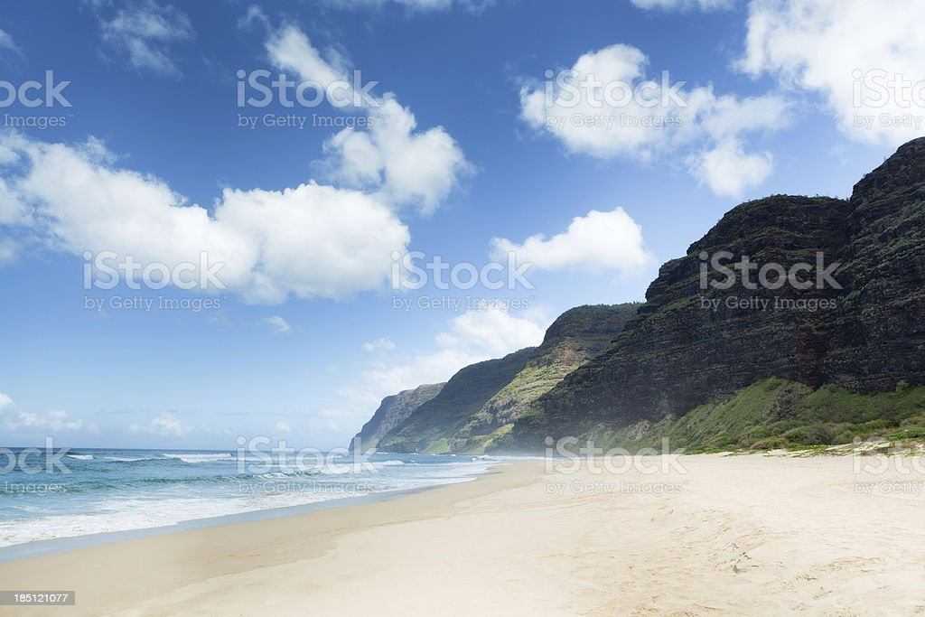 Tropical Paradise in Polihale Beach of Kauai, Hawaii royalty-free stock photo