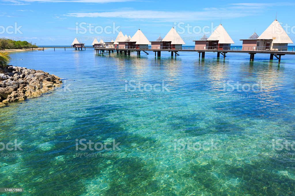 Tropical Paradise Luxury Over Water Bungalow Resort stock photo