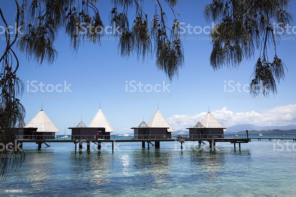 Tropical Paradise Luxury Over Water Bungalow Resort royalty-free stock photo