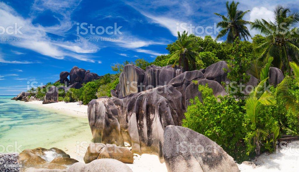 Tropical paradise of Seychelles stock photo