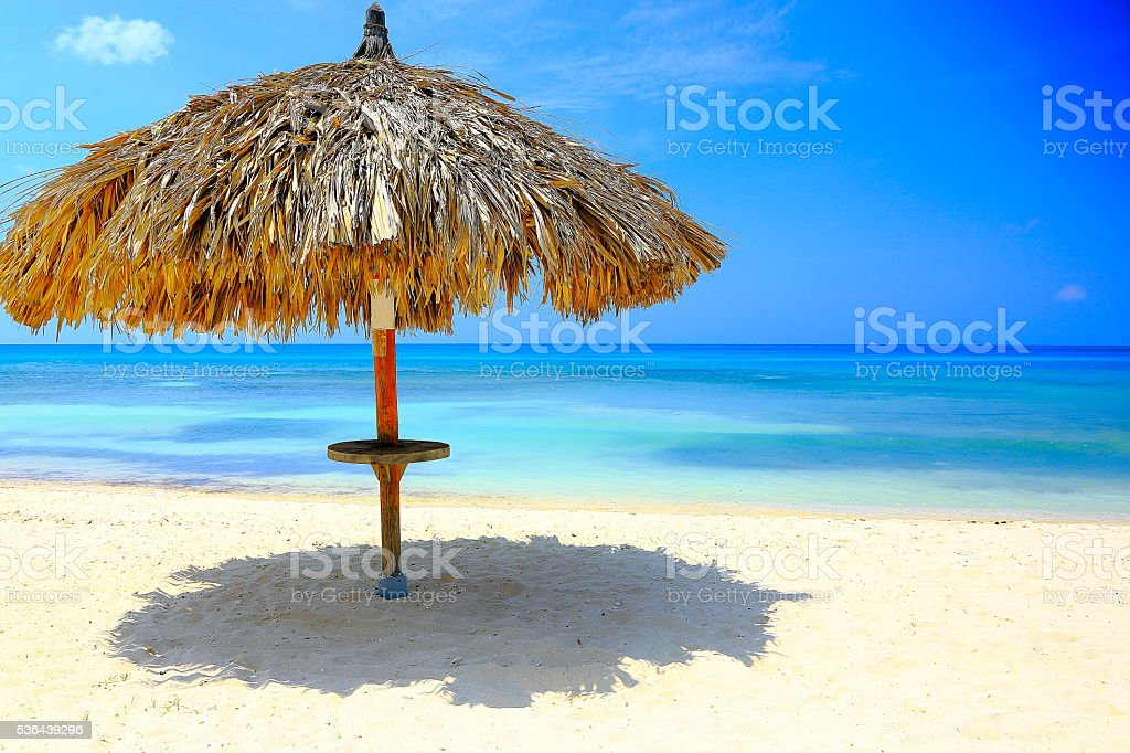 Tropical paradise: palapa rest, turquoise caribbean beach sunrise, Aruba, Antilles stock photo