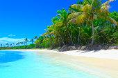 Tropical paradise relax Summer dreamscape: turquoise caribbean beach, White sand