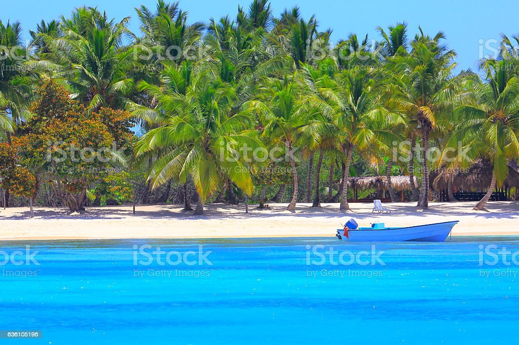 Tropical paradise: turquoise sand beach, boat, Green palm trees stock photo