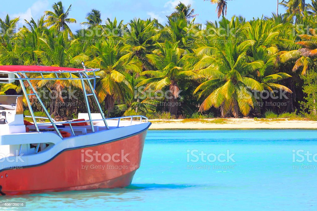 Tropical paradise: turquoise sand beach, lonely ship, green palm trees stock photo