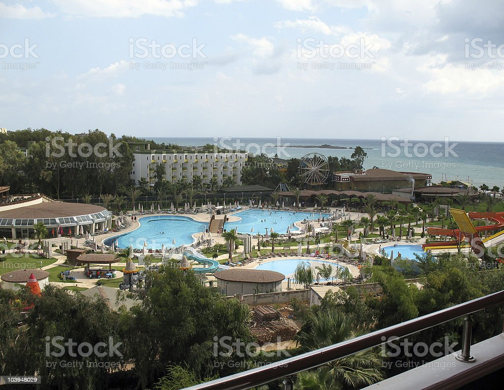 Tropical paradise - view from hotel balkony. royalty-free stock photo
