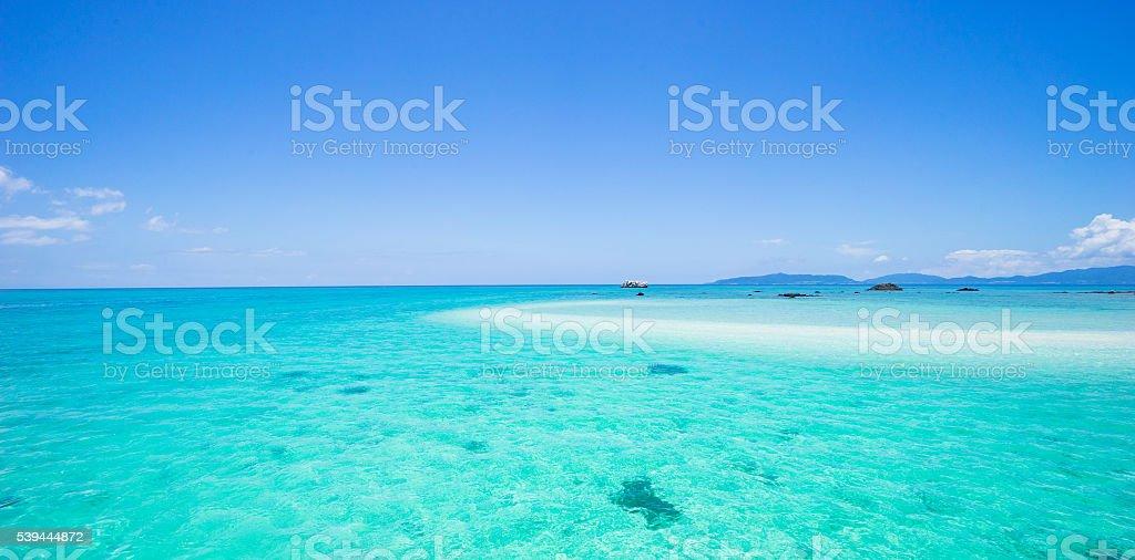 Tropical paradise water and coral cay, Okinawa, Japan stock photo