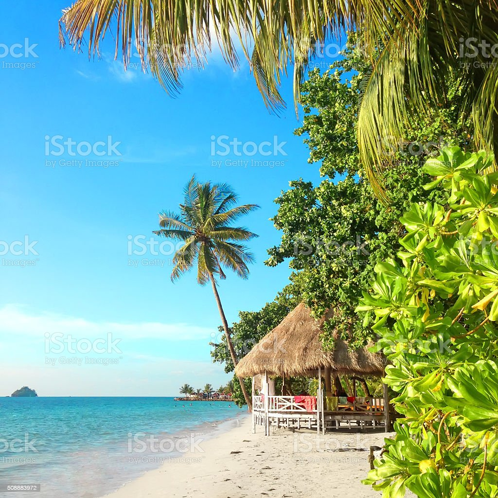 Tropical paradise with a hut on a white sand beach stock photo