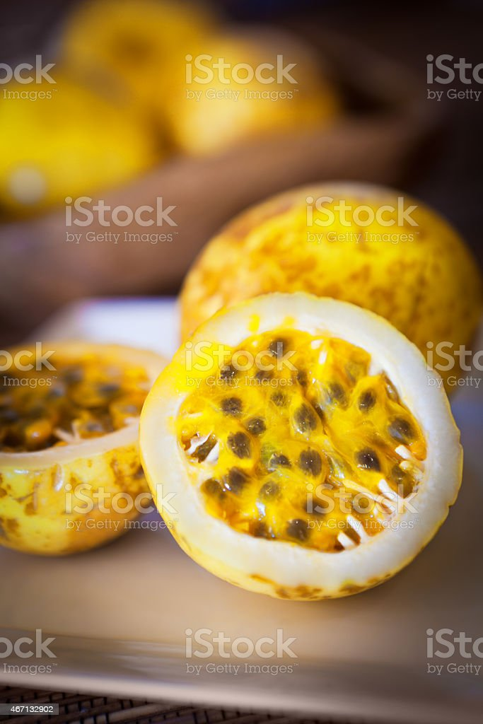 Tropical Passion Fruit Served on Plate stock photo