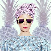 Tropical Pineapple Lady. Summer fashion