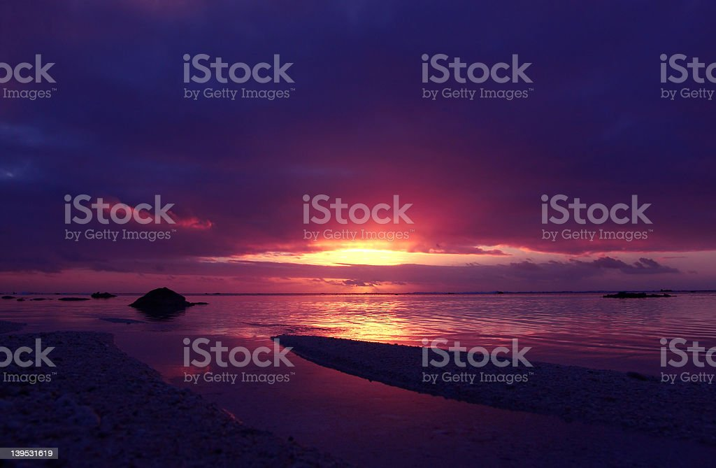 Tropical Pink Sunset royalty-free stock photo