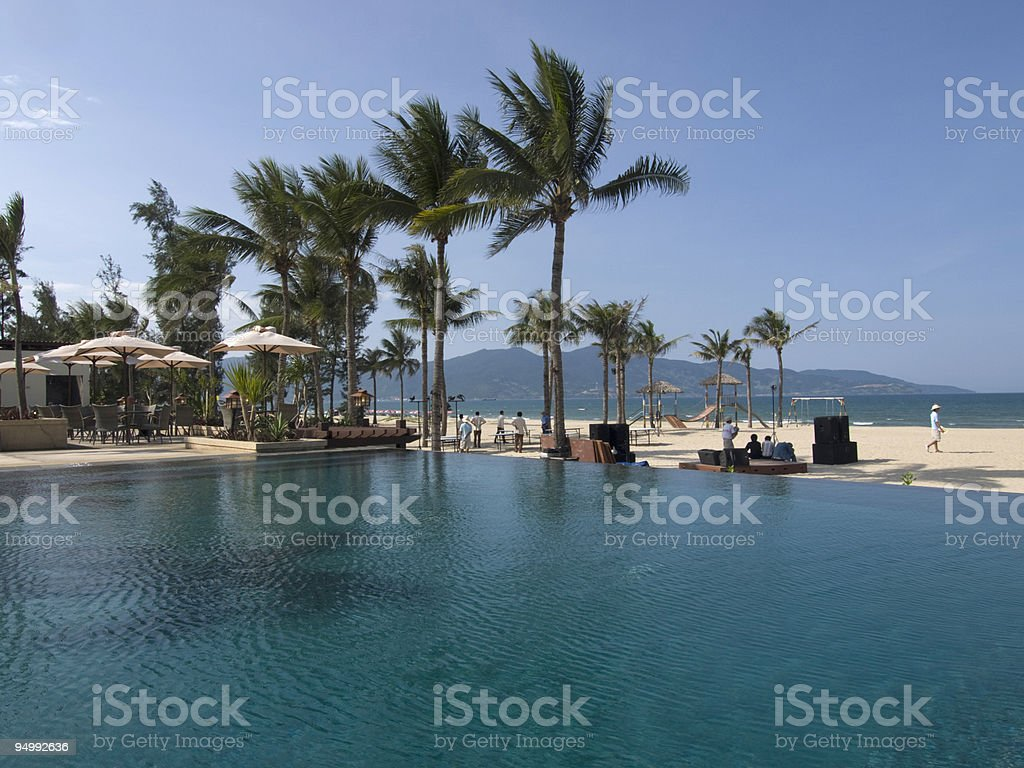 Tropical pool at the beach in Danang royalty-free stock photo