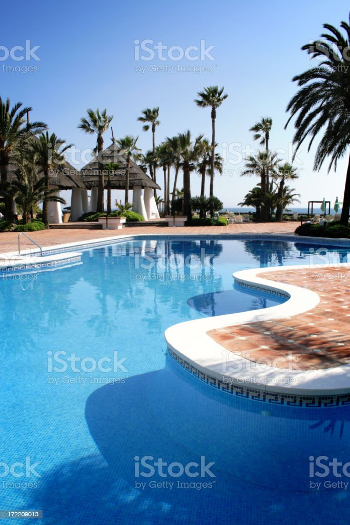 Tropical pool beside the sea royalty-free stock photo