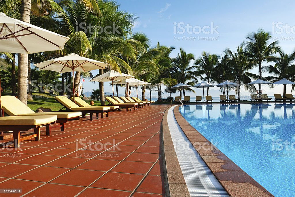 Tropical pool stock photo