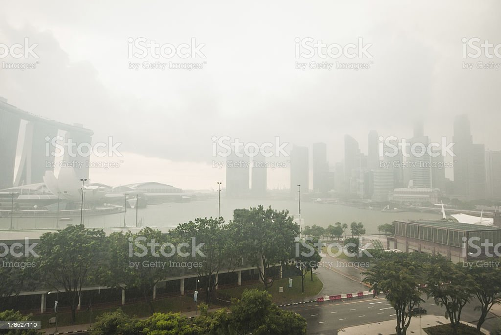 Tropical rain storm in Singapore royalty-free stock photo
